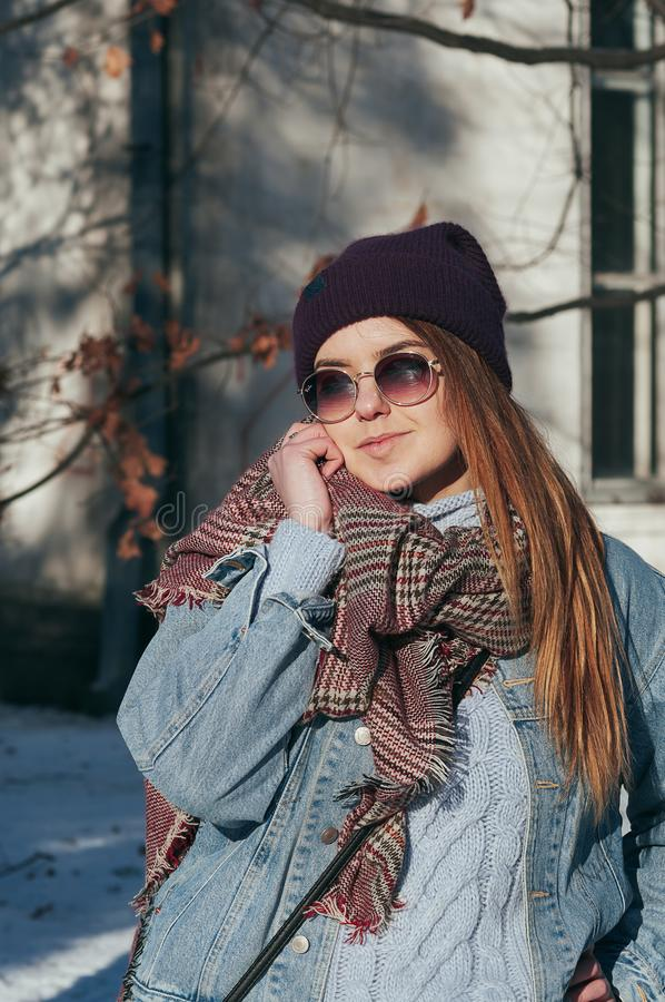 Street style portrait pretty girl in casual clothes royalty free stock image