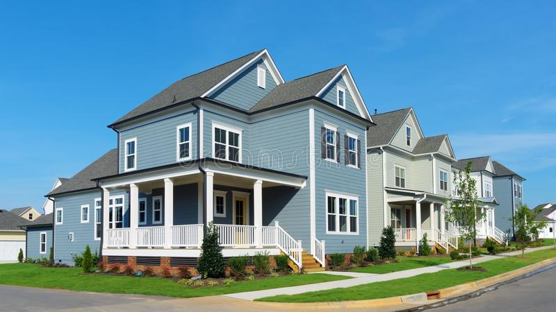 Street of suburban homes royalty free stock photo