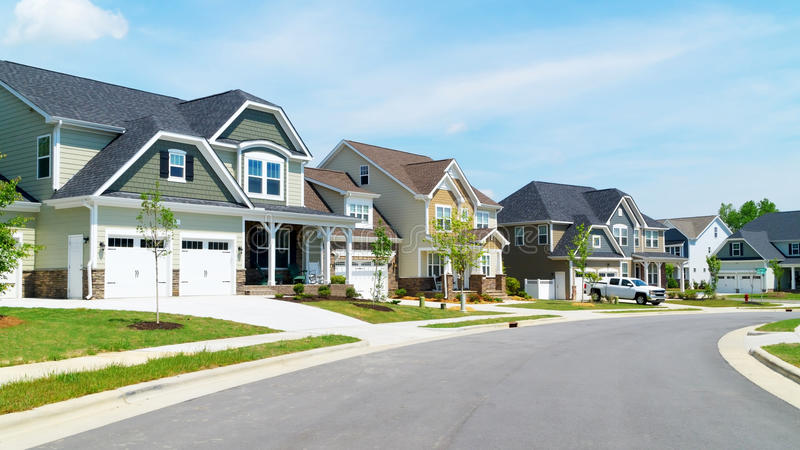 Street of suburban homes stock photography