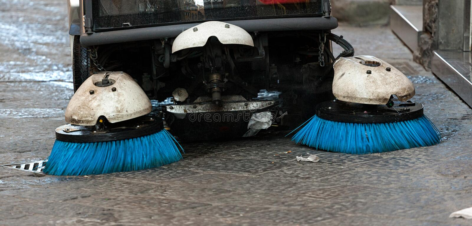 Street sweeper. Front view. royalty free stock image