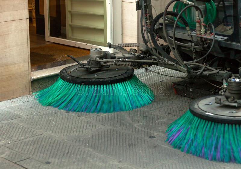 Street sweeper machine cleaning the streets stock photography