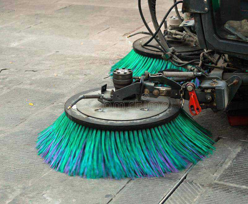 Street sweeper machine cleaning the streets royalty free stock image