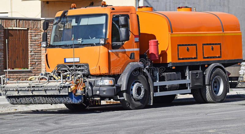 Street sweeper vehicle stock photography