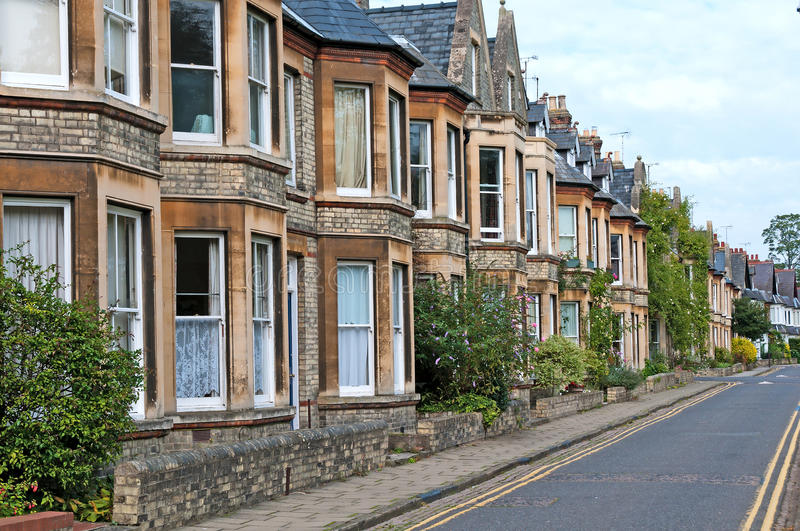 Street of terraced houses royalty free stock photography
