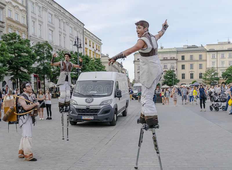 Street Theater festival in Krakow stock photo