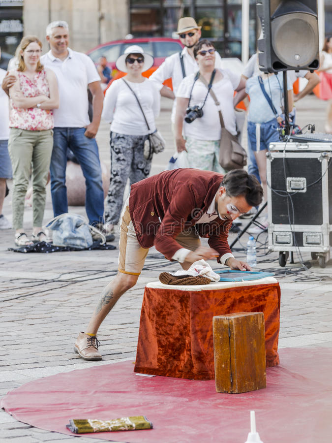 Street Theater festival in Krakow. Each year in the Krakow International Festival of street theatre. Poland Europe. Thise month ULICA 30 street 30 name royalty free stock photo