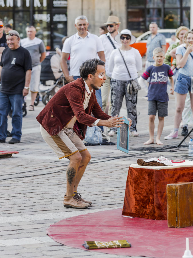 Street Theater festival in Krakow. Each year in the Krakow International Festival of street theatre. Poland Europe. Thise month ULICA 30 street 30 name royalty free stock photography