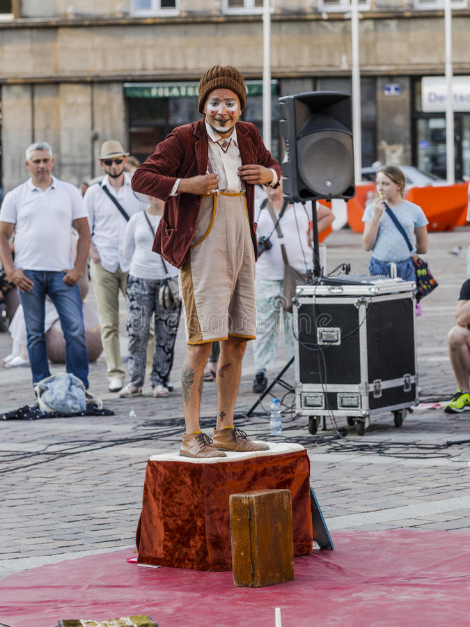 Street Theater festival in Krakow. Each year in the Krakow International Festival of street theatre. Poland Europe. Thise month ULICA 30 street 30 name stock image