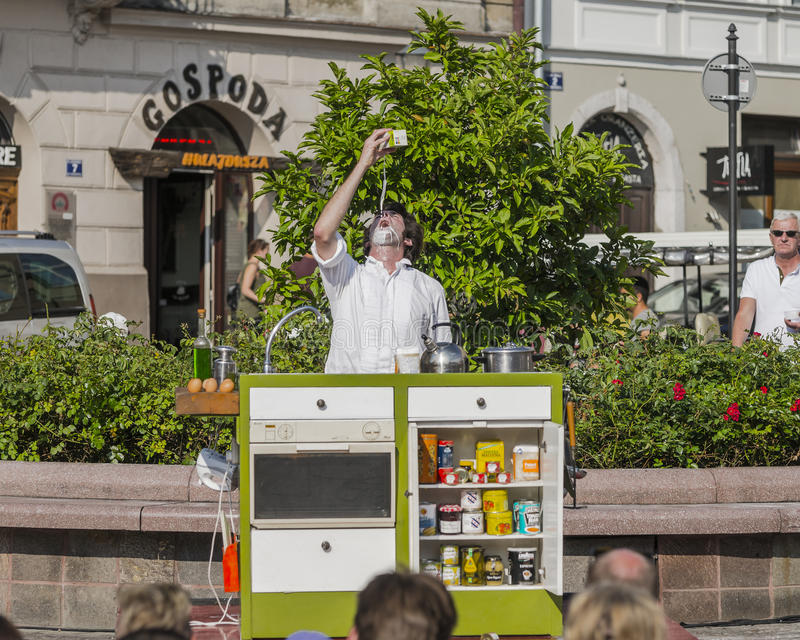 Street Theater festival in Krakow. Each year in the Krakow International Festival of street theatre. Poland Europe. Thise month ULICA 30 street 30 name stock photos