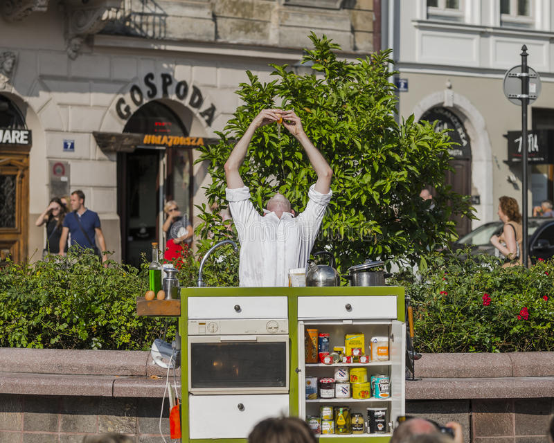 Street Theater festival in Krakow. Each year in the Krakow International Festival of street theatre. Poland Europe. Thise month ULICA 30 street 30 name stock images