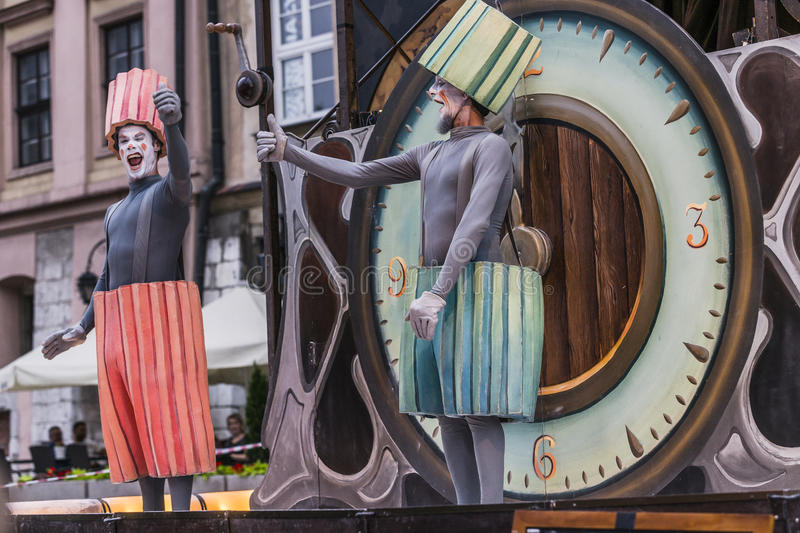Street Theater festival in Krakow. Each year in the Krakow International Festival of street theatre. Poland Europe. Thise month ULICA 30 street 30 name stock photography