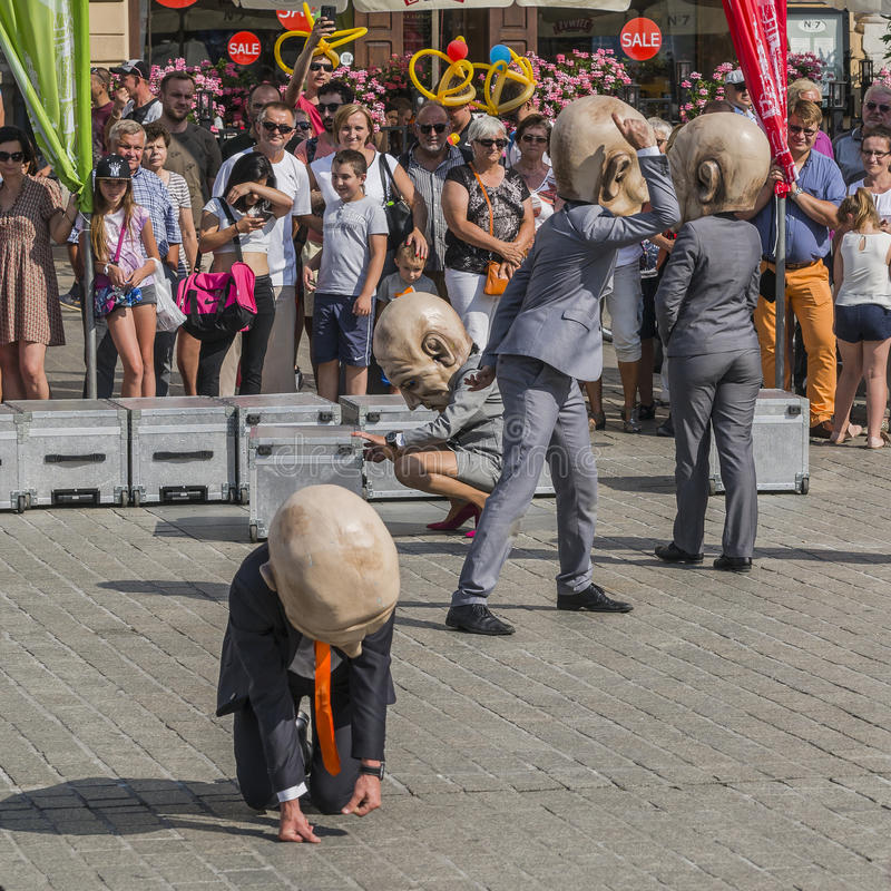 Street Theater festival in Krakow. Each year in the Krakow International Festival of street theatre. Poland Europe. Thise month ULICA 30 street 30 name royalty free stock photos