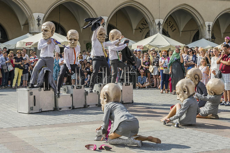 Street Theater festival in Krakow. Each year in the Krakow International Festival of street theatre. Poland Europe. Thise month ULICA 30 street 30 name royalty free stock image