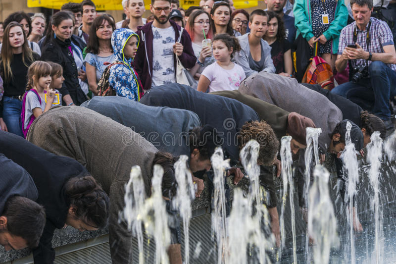 Street Theater festival in Krakow. Each year in the Krakow International Festival of street theatre. Poland Europe. Thise month ULICA 30 street 30 name stock photo