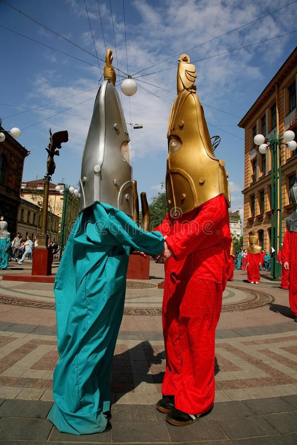 Street theatre. open street costumed performance of young actors. stock image