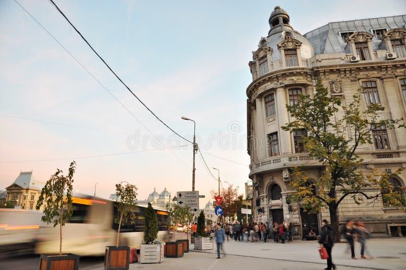 Street Time Lapse. Street scene at University Square, Bucharest, time lapse photo - 18.10.2012 stock image