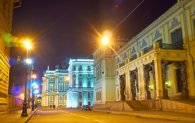 The street to the Hermitage, Saint Petersburg, Russia royalty free stock image
