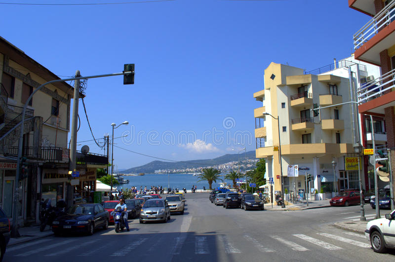 Street to Kavala seaport,Greece royalty free stock photo