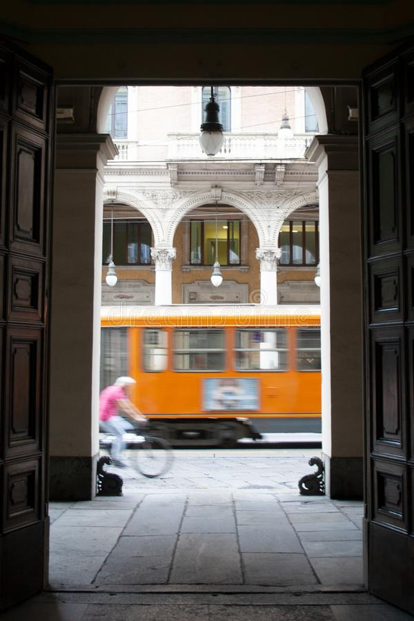 Street of Torino, Italy. With tram and bicycle royalty free stock image