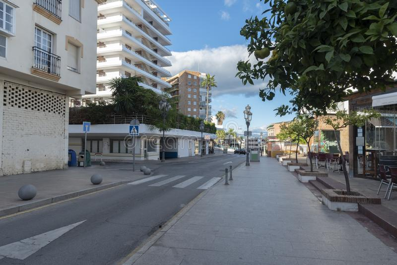 Street in Torremolinos in Spain. In autumn royalty free stock photos