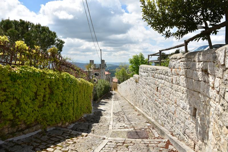 A street in the town of Buonalbergo in southern Italy. royalty free stock photo