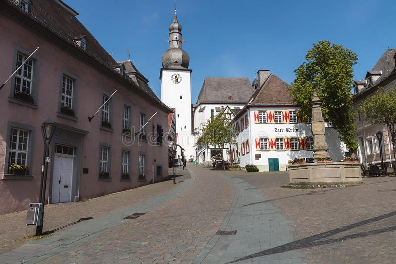 A street in a town in Germany. This is a photo from a street in the place Armsberg in Germany stock photography