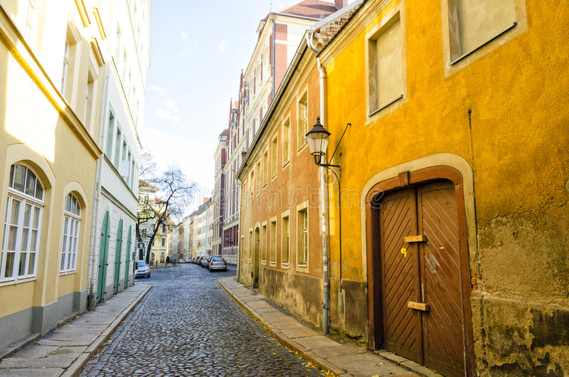 Street in town Goerlitz in Saxony, Germany stock images