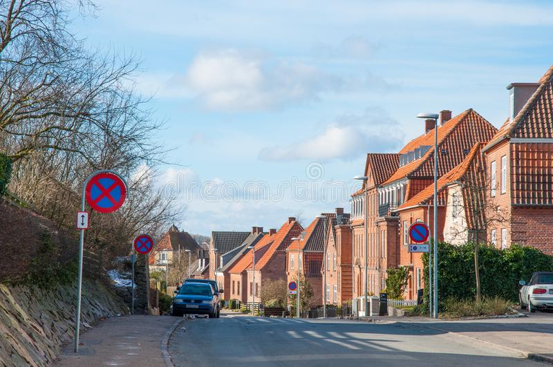 Street in town of Slagelse in Denmark. On a bright winter day royalty free stock image