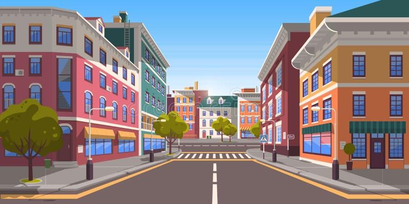 Street of Modern Empty City with Zebra Crossing vector illustration