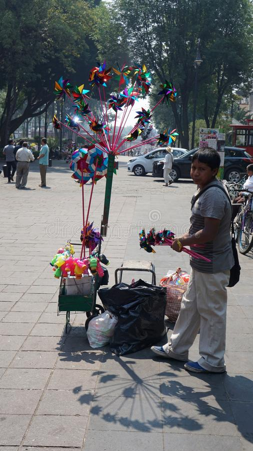 Street toy seller stock photos