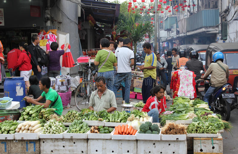 Street traders stock photo