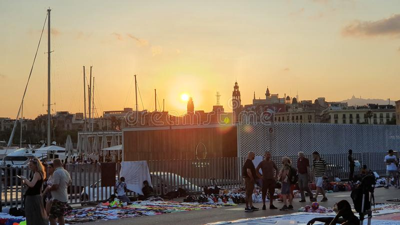 Street traders in Barcelona, top manta en Barcelona stock photography