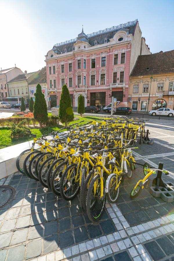 Street transport of old Brasov in Romania. One of the ten largest cities in Romania. Located in the heart of Romania, the city of Brasov is sometimes called the stock image