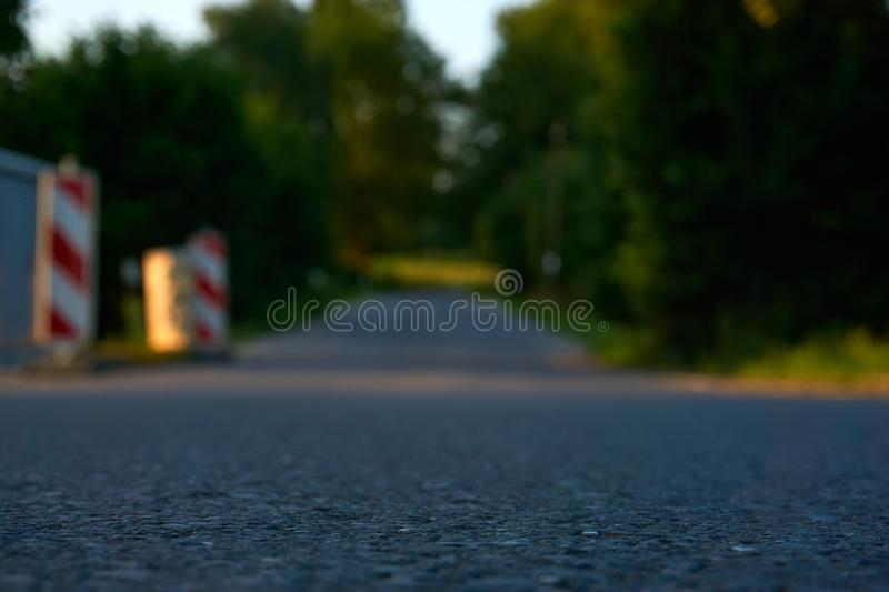 A street with trees and signs. And a blue sky royalty free stock photos