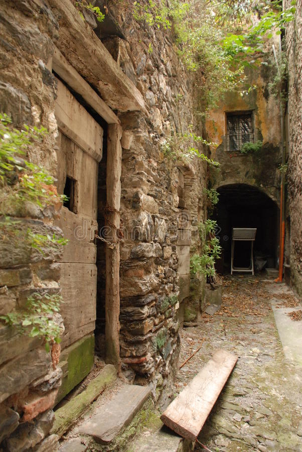 Street in Triora. A backstreet in historic medieval Triora, Liguria – a town historically associated with witches which is a member of I Borghi Piú royalty free stock image