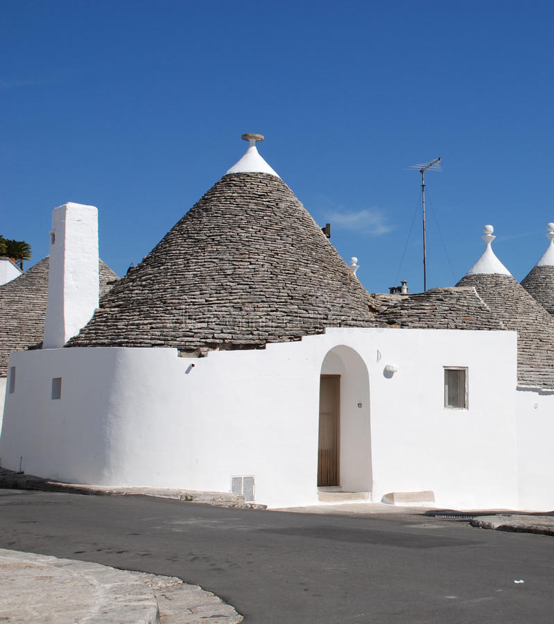 Street of Trulli. A street of trulli in Alberobello in Puglia, southern Italy. The trulli, which are protected under UNESCO World Heritage laws, are traditional royalty free stock photography