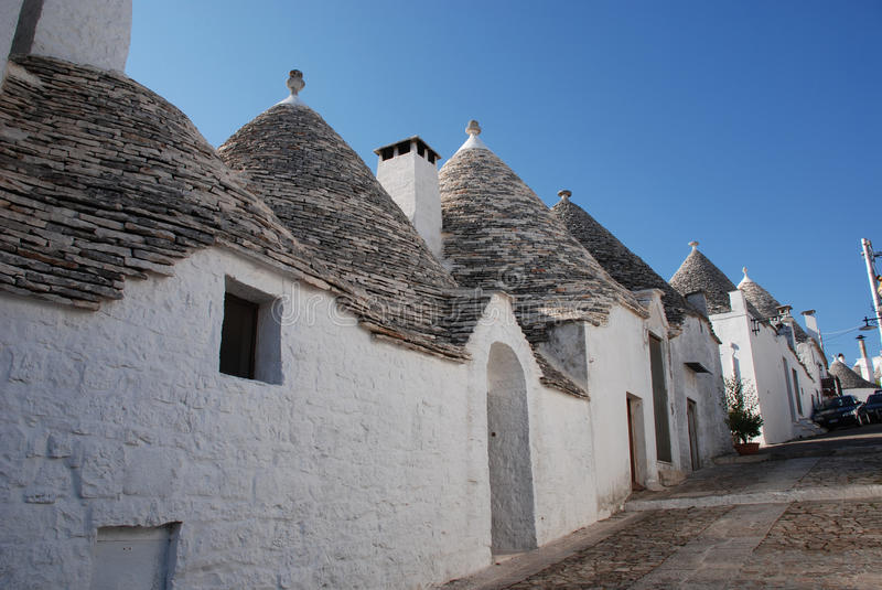 Street of Trulli in Alberobello. A street of trulli in Alberobello in Puglia, southern Italy. The trulli, which are protected under UNESCO World Heritage laws royalty free stock images