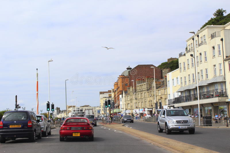A 259 road Hastings United Kingdom. A 259 beach-side motorway in Hastings.Hastings is a town on England's southeast coast royalty free stock photos