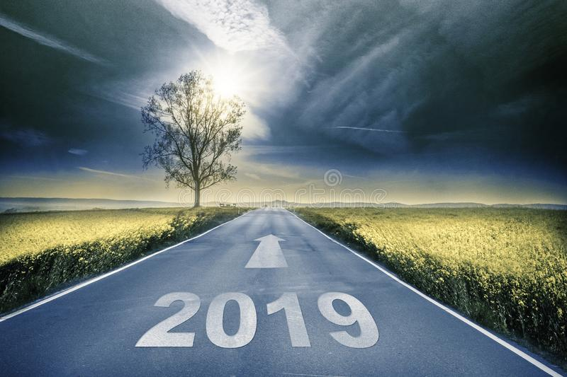 Street with unknown future. Goeing to 2019 royalty free stock images