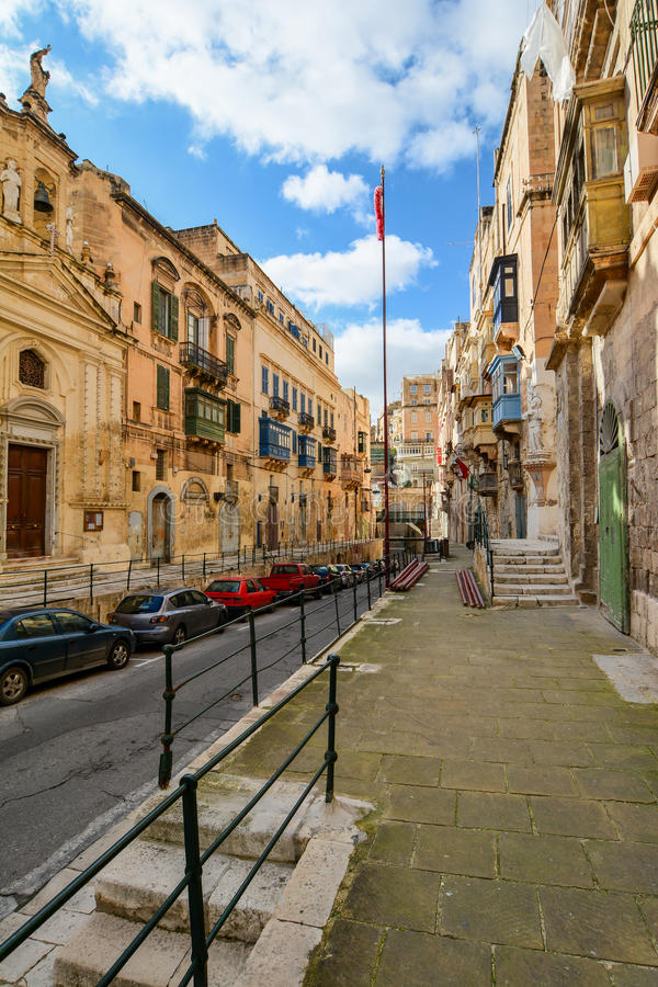 Street in Valletta with stairs royalty free stock photo