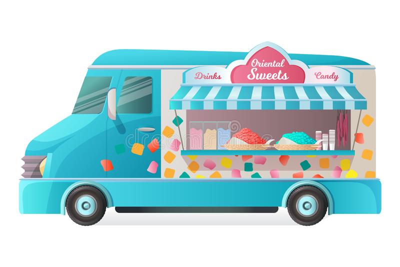 Street van, shop truck counter on wheels, stall, with sweets. vector illustration