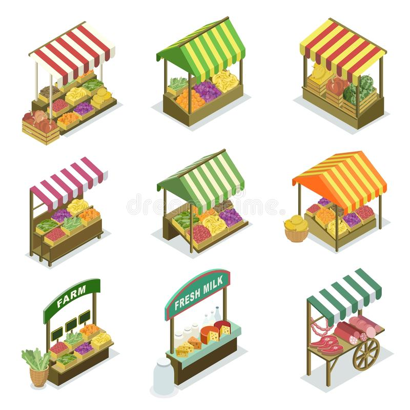 Street vendor booth and farm market food counters. Street vendor booth with canopy isometric set. Market food counters with fruits, vegetables, meat, dairy stock illustration