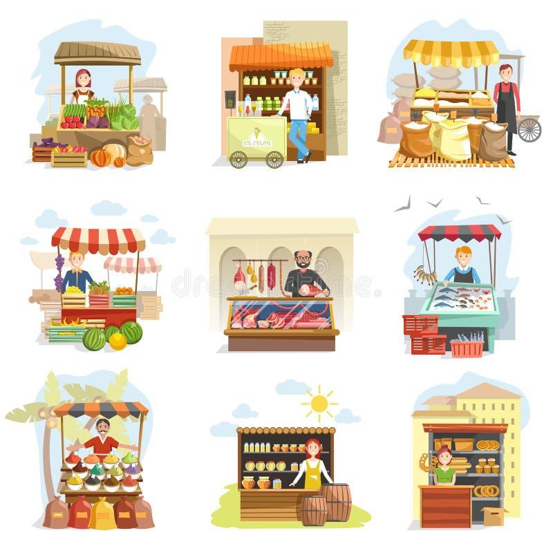 Street vendor booth and farm market food counters vector flat cartoon icons set. Street vendor booth and farm market food counters with fruis or vegetables vector illustration
