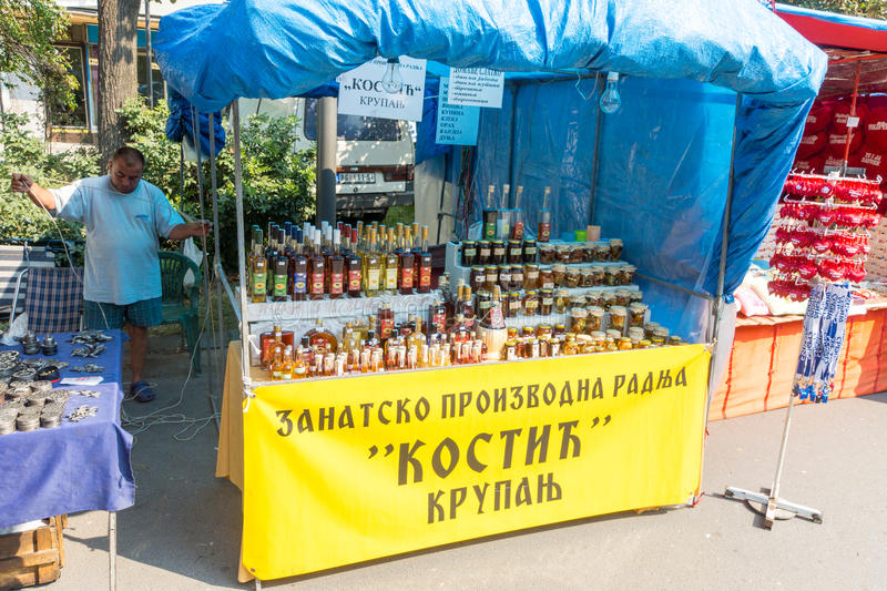 Street vendor products from berries and fruit in Leskovac, Serbia stock image