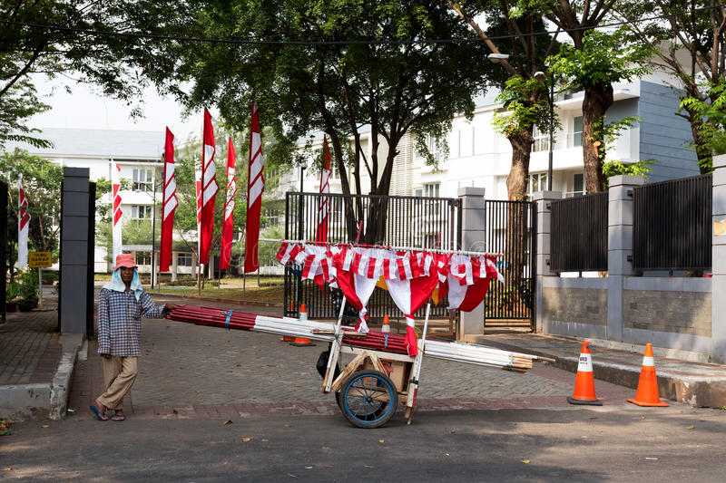 Street vendor sell indonesian flags stock photos