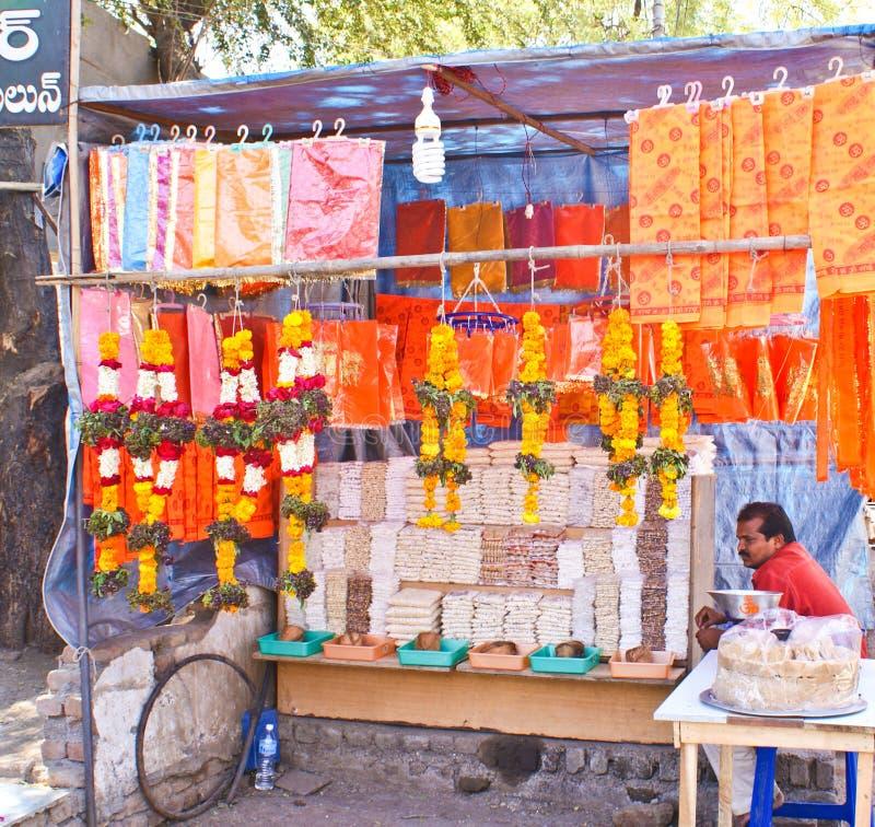 Street vendor selling temple items stock photo