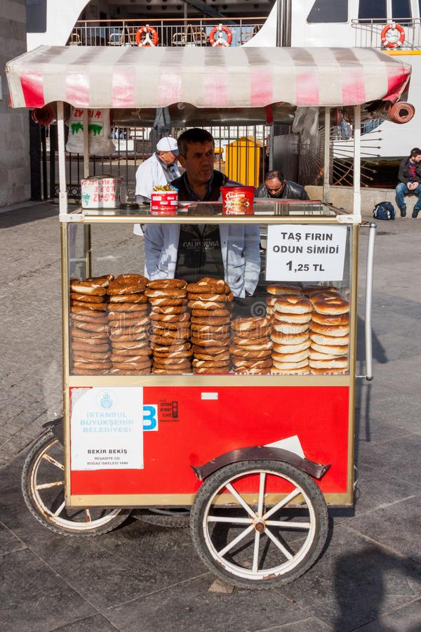 A Street Vendor Sells Food. Item on a street in Istanbul, Turkey royalty free stock photography