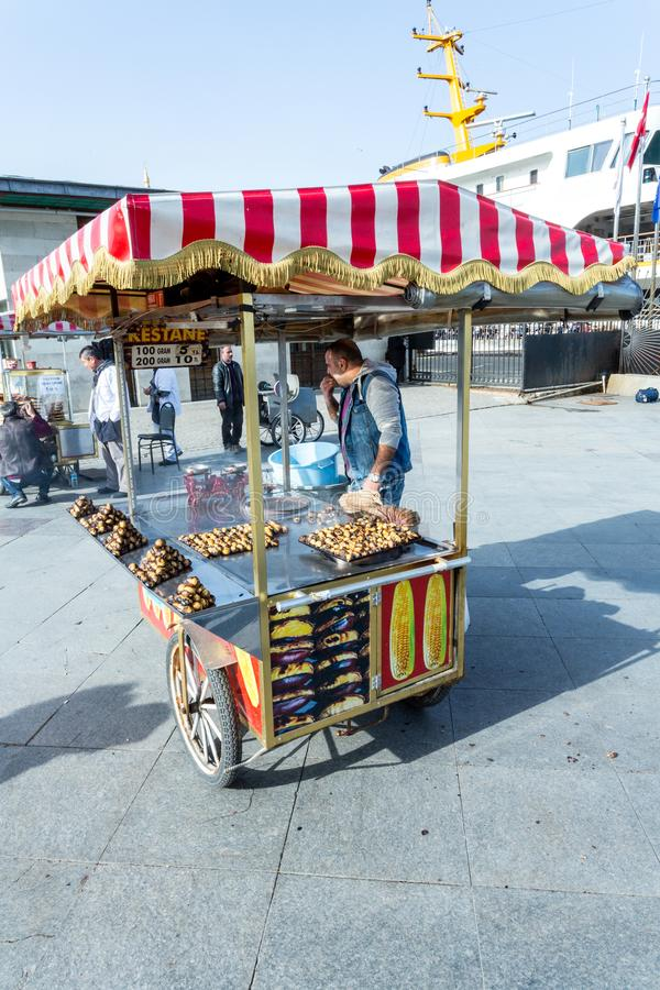 A street vendor sells pretzels. From his stand on a sunny day in Istanbul Turkey stock photography
