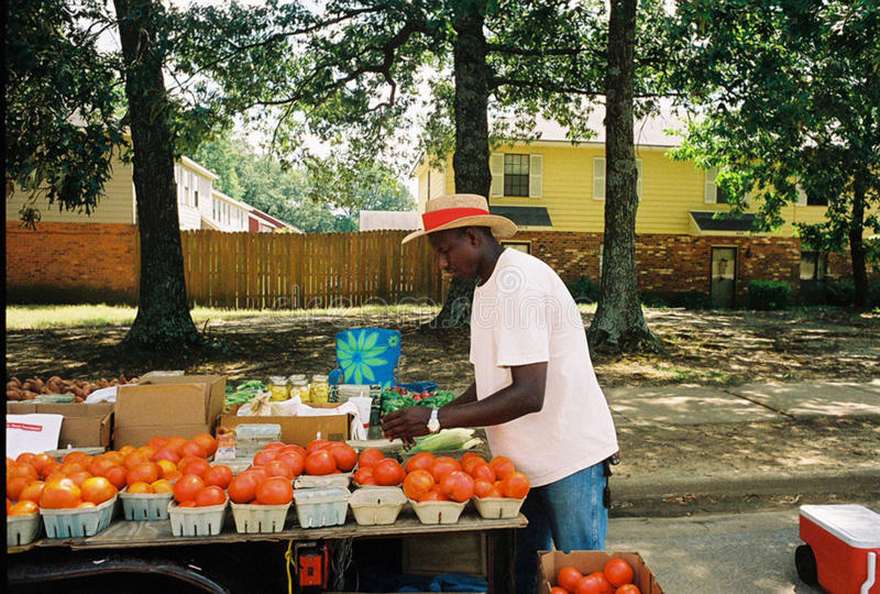 Street vendor sells vegetables and fruit along the roadside. In Memphis, TN. Selling tomatoes, watermelon, and jellies stock image