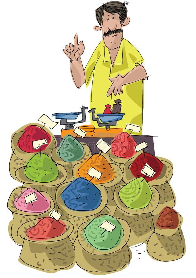 A street vendor sels indian colored spices. Cartoon.Caricature royalty free illustration